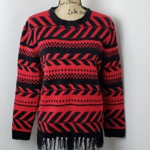 Arrow Design Fringed Pullover Knit Sweater